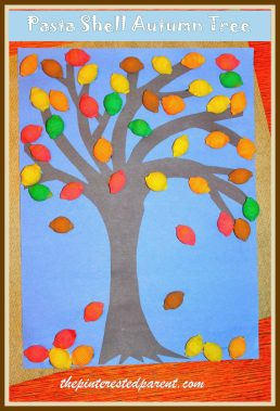 pasta shell autumn tree craft - fall crafts for kids