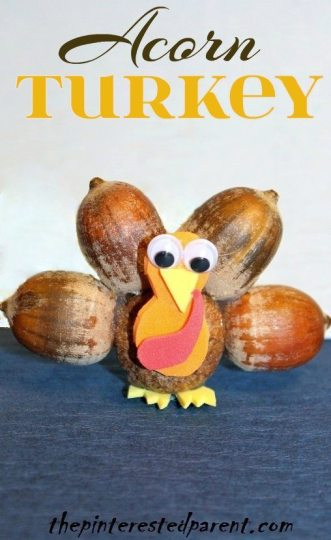 Acorn Turkey Craft - Thanksgiving nature craft for the fall