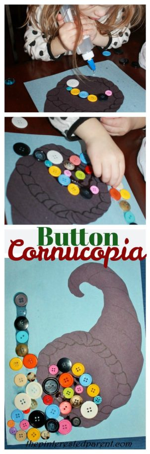 Button Cornucopia Craft - Thanksgiving crafts for kids