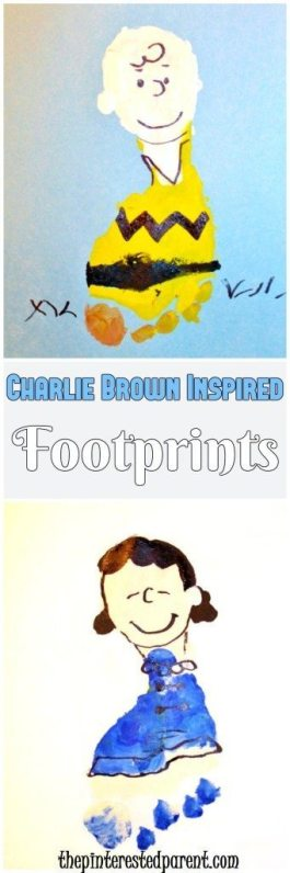 Charlie Brown Inspired Footprint Crafts - Charlie Brown & Lucy