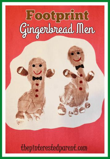 Footprint gingerbread man craft - cute little Christmas keepsake of your children's feet