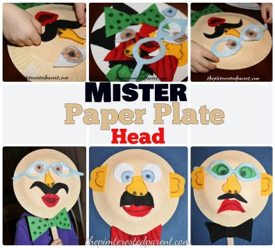 Mister Paper Plate Mask - Mask with interchangeable felt pieces. Fun Crafts for kids.