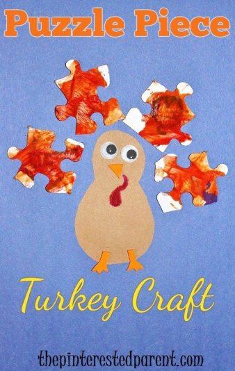 Puzzle piece Thanksgiving turkey craft for kids.