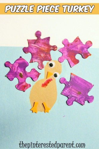 Puzzle piece turkey craft