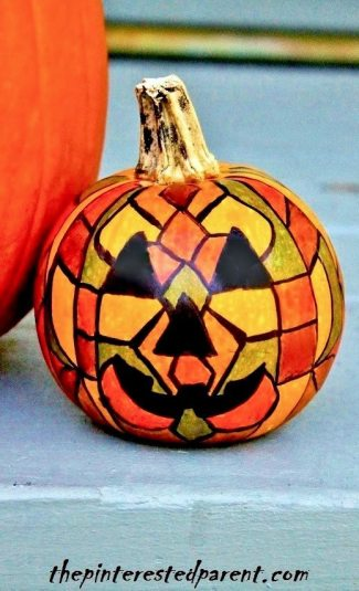 Stained Glass Pumpkin With Sharpies & markers.