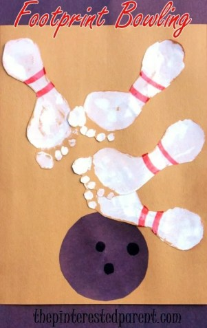 Footprint Bowling Pins - Cute footprint craft - would make a great gift for the bowler in your life.