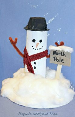 toilet paper tube snowman at the North Pole. Recyclable cardboard roll arts & crafts for kids for winter and Christmas