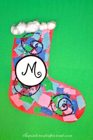 Scrap Paper Christmas Stocking Craft For Kids