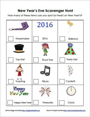 New Year's Eve Scavenger Hunt from Buggy and Buddy
