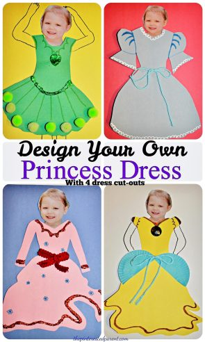 Design Your Own Pricess Dress Activity - With 4 free dress cut-out patterns