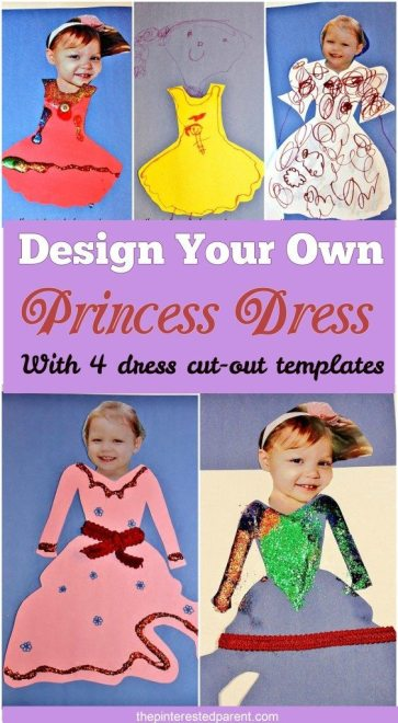 Design your own princess dress with markers, glitter, pom pom & ribbon. Free printable cut outs
