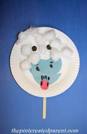 Paper plate abdominable snow man character craft & mask