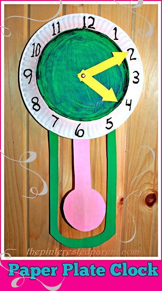 Paper plate new year 39 s clock the pinterested parent for Clock mechanisms for craft projects