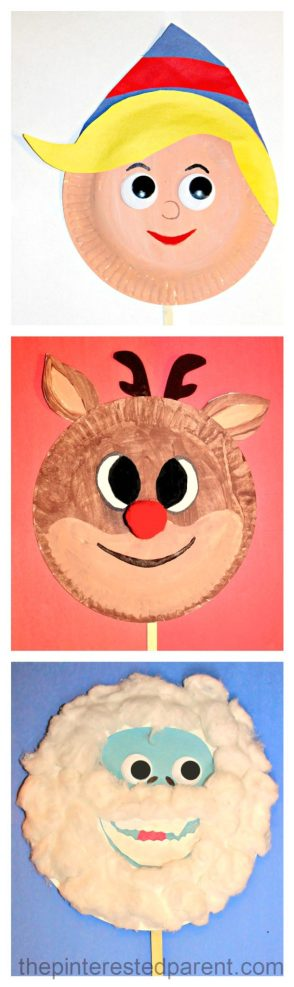 Paper Plate Rudolph & friends character masks - Christmas Crafts for the kids