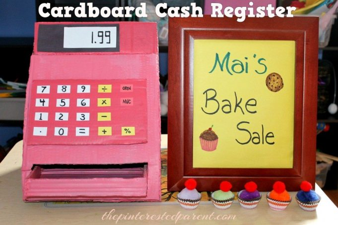 Cardboard Cash Register for pretend play