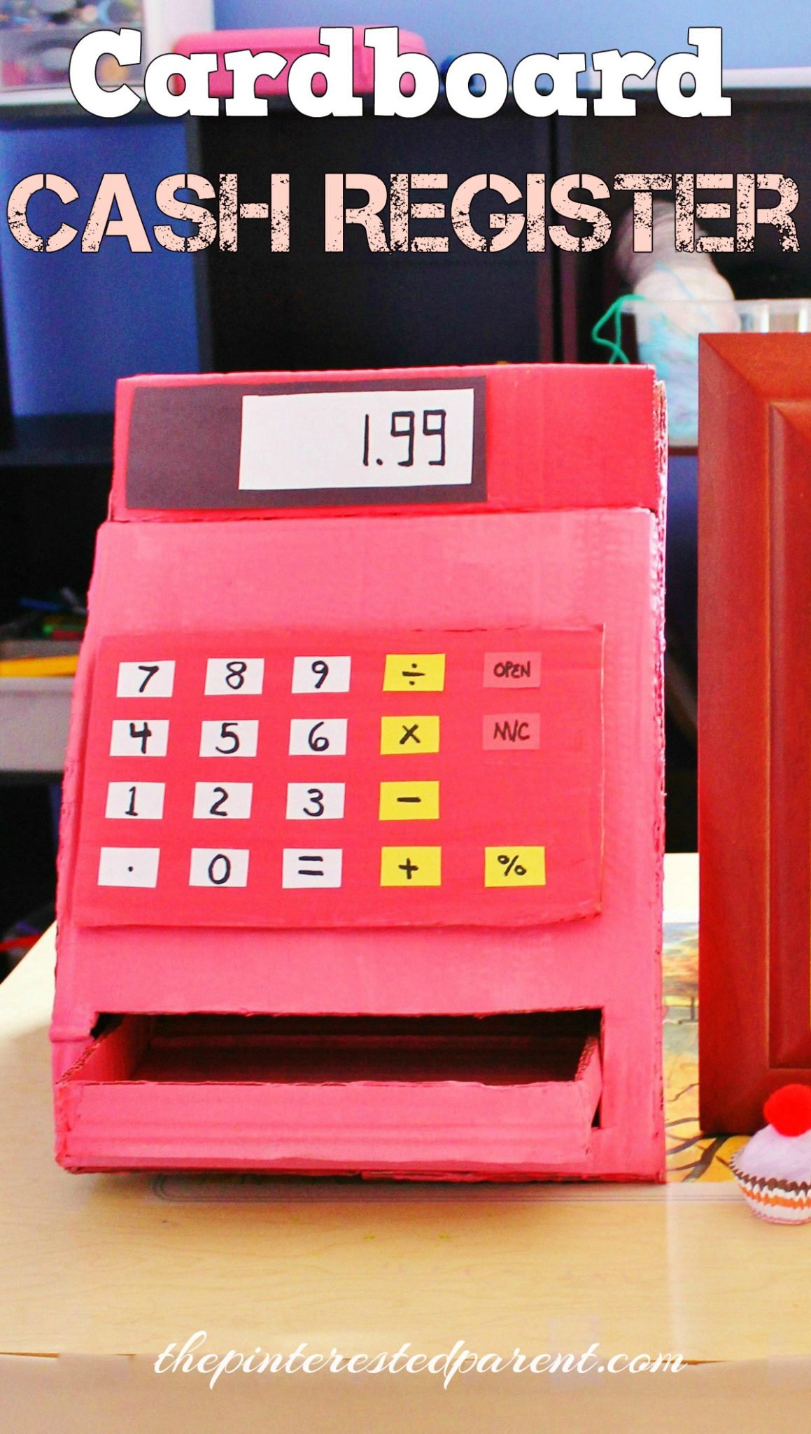 Diy cardboard cash register the pinterested parent for Large cardboard cut out numbers