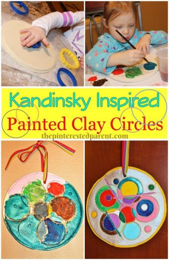 Kandinsky Inspired Painted Clay Circles - This was a fun lesson in art history and fun project for kids too