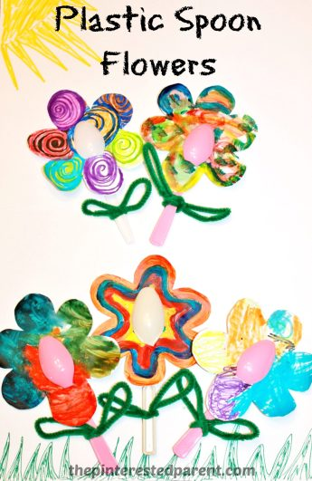 Plastic Spoon Flower arts & craft for kids - easy painting craft perfect for spring