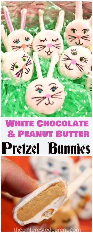 White chocolate & peanut butter pretzel stick Easter bunnies recipe. These bunny treats were a huge hit & my kid loved to decorate them.