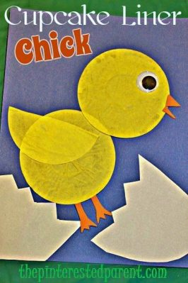 Cupcake Liner Chick Craft easy kids crafts
