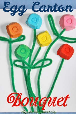 Egg carton flower bouquet. A simple craft for kids perfect for Valentines Day or Mothers Day