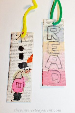 Newspaper & watercolor painted bookmark arts & crafts for kids