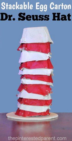 Paint & stack egg carton Dr. Seuss hat craft for kids.