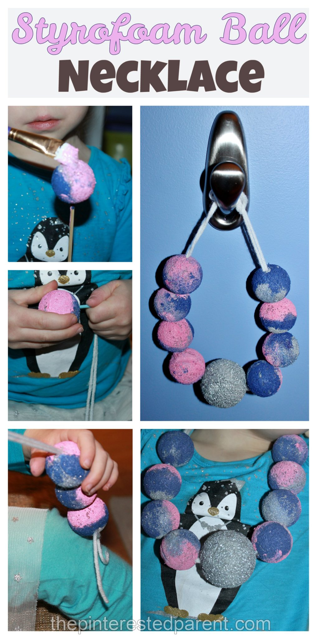 Painted Styrofoam Ball Dress up necklace - fine motor activity and craft  for kids