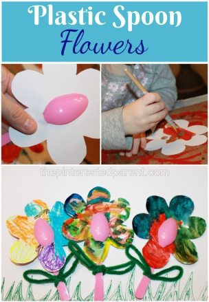 Plastic Spoon flower craft for kids - painted flowers
