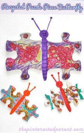 Recycled Puzzle Butterfly Craft for kids