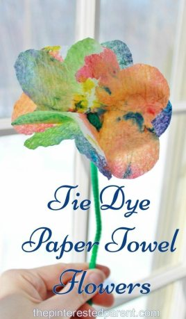Tie Dye Paper Towel Flowers - a pretty summer arts & craft project for the kids .