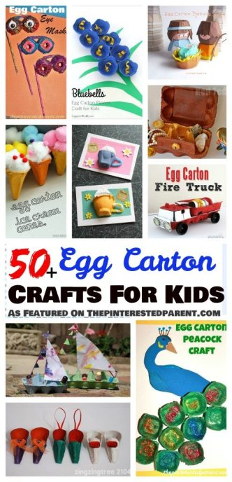 50+ egg carton arts & crafts activities for kids - holidays, animals, flowers & more