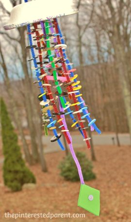 Button Threaded Wind Chimes - Great fine motor spring craft for kids