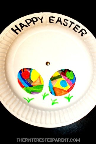 Paper Plate Easter Egg Spinner & Changer - fun craft for kids