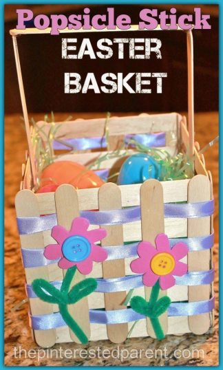 Popsicle Craft Stick Easter Basket Craft - a pretty project that you can make with your kids