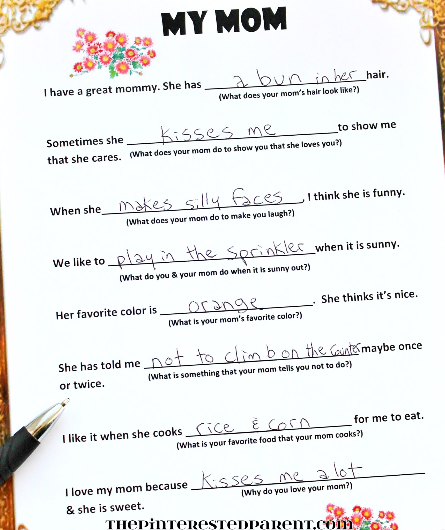 photo relating to Free Printable Mothers Day Poems titled Totally free Fill-Within just Moms Working day Poem The Pinterested Father or mother