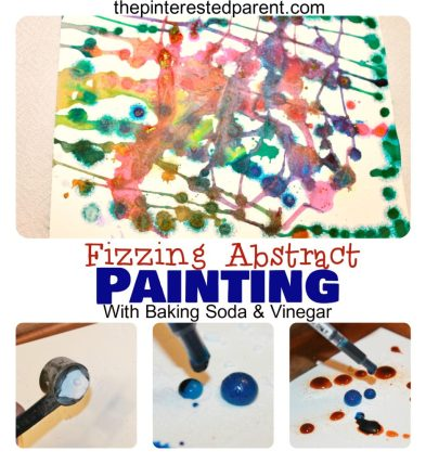 Baking soda & vinegar reactions made this fun abstract painting for kids. Science & process art.