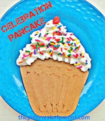 Cupcake shaped pancake. Fun breakfast food for kids. This is a perfect for a birthday or special occasions