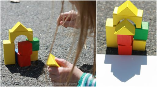 Exploring shadow & light with blocks. This is a wonderful activity that you can do with your kids while exploring shadow & light outdoors
