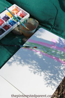 Painting shadows with watercolors - this is a wonderful spring or summer art project that you can do with your kids while exploring shadow & light and nature