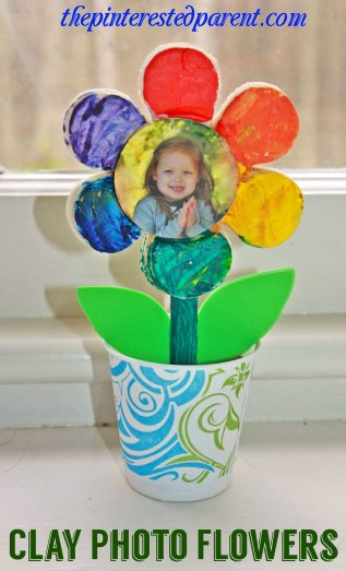 Salt Dough Clay Flowers with photo. This adorable spring or summer arts & crafts project for kids would also make a wonderful gift for Mother's Day or any special occasion