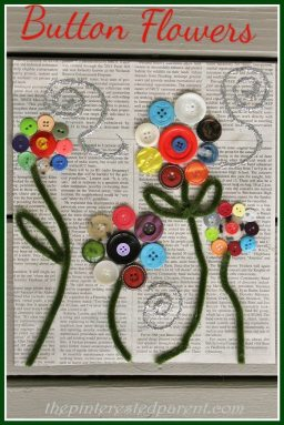I love these button flowers on newspaper. They are so pretty & make a great spring craft for the kids.