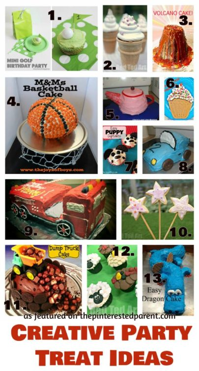 Fun & creative birthday treat ideas for a kid's party - cakes, cupcakes, cookies for themed birthdays & special occasions
