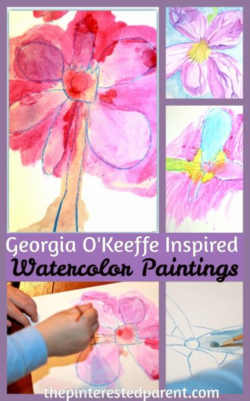 Georgia O'Keefe inspired flower watercolor paintings for kids - exploring art history & famous artists.