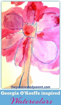 Georgia OKeefe inspired watercolor paintings for kids - exploring art history famous-artists