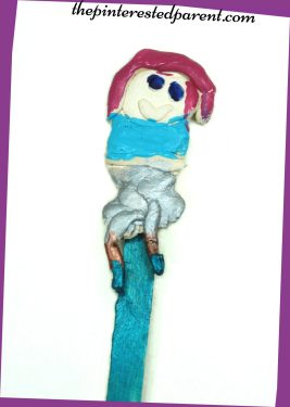 Clay & craft stick puppets - kid made arts & crafts