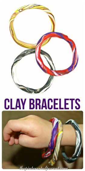 Easy to make clay bangle bracelet craft for kids . Polymer arts & crafts - jewelry