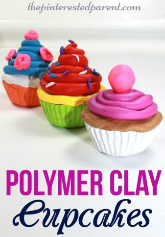 Polymer Clay Cupcakes - This is a great arts & craft project & can be used for pretend play for the kids after making.