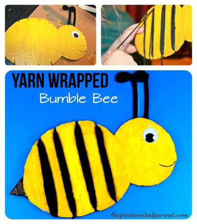Yarn Wrapped bumble bee craft for the kids. a cute spring or summer craft & a great fine motor activity as well.