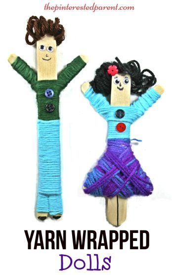 Yarn Wrapped craft stick dolls. A cute craft with fine motor skills. Kids will love to make & play with these. Arts & Crafts for children